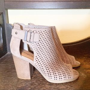Indigo Tan Perforated Buckled Booties Size 6 M